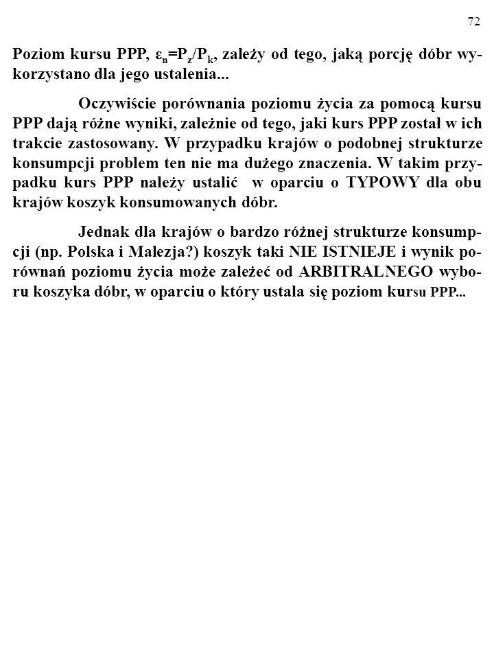 72 Poziom kursu PPP, ε n =P z /P k, zależy od tego, jaką porcję dóbr wy- korzystano dla jego ustalenia...