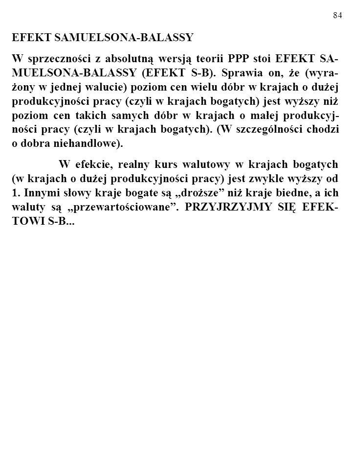 84 EFEKT SAMUELSONA-BALASSY W sprzeczności z absolutną wersją teorii PPP stoi EFEKT SA- MUELSONA-BALASSY (EFEKT S-B).