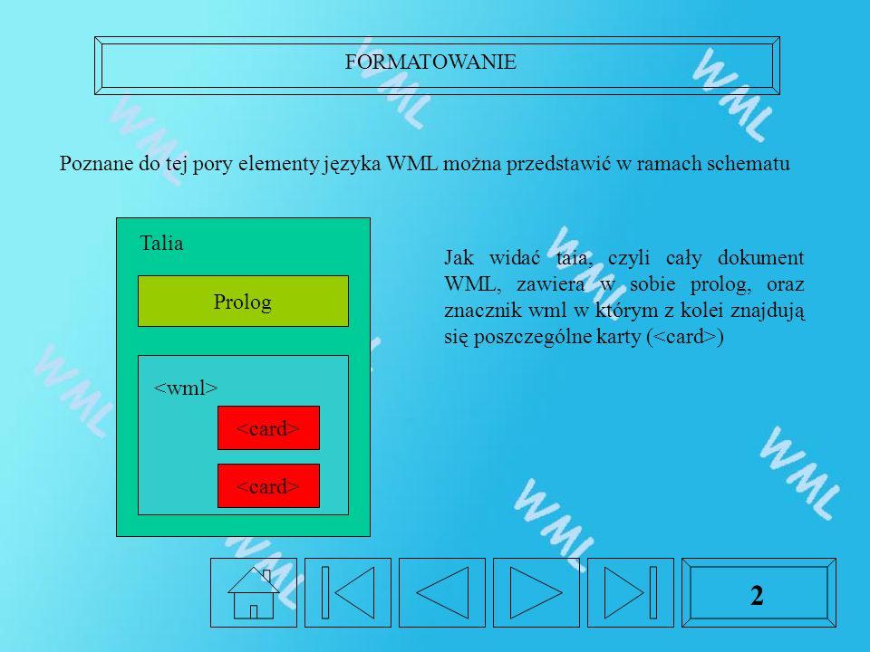 FORMATOWANIE 2 Poznane do tej pory elementy języka WML można przedstawić w ramach schematu Prolog Talia Jak widać taia, czyli cały dokument WML, zawiera w sobie prolog, oraz znacznik wml w którym z kolei znajdują się poszczególne karty ( )