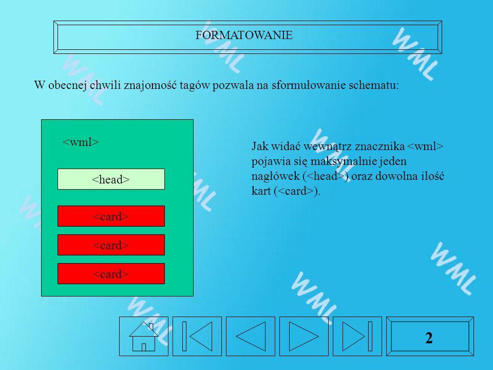FORMATOWANIE 2 W obecnej chwili znajomość tagów pozwala na sformułowanie schematu: Jak widać wewnątrz znacznika pojawia się maksymalnie jeden nagłówek ( ) oraz dowolna ilość kart ( ).
