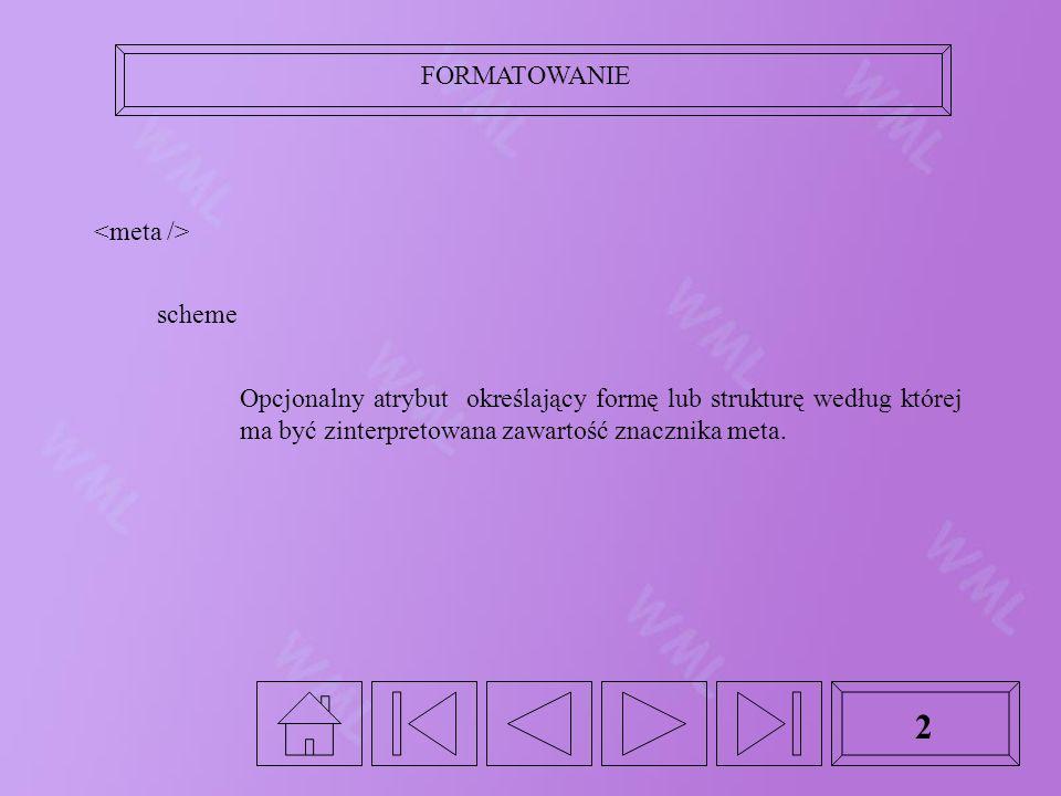 FORMATOWANIE 2 scheme Opcjonalny atrybut określający formę lub strukturę według której ma być zinterpretowana zawartość znacznika meta.
