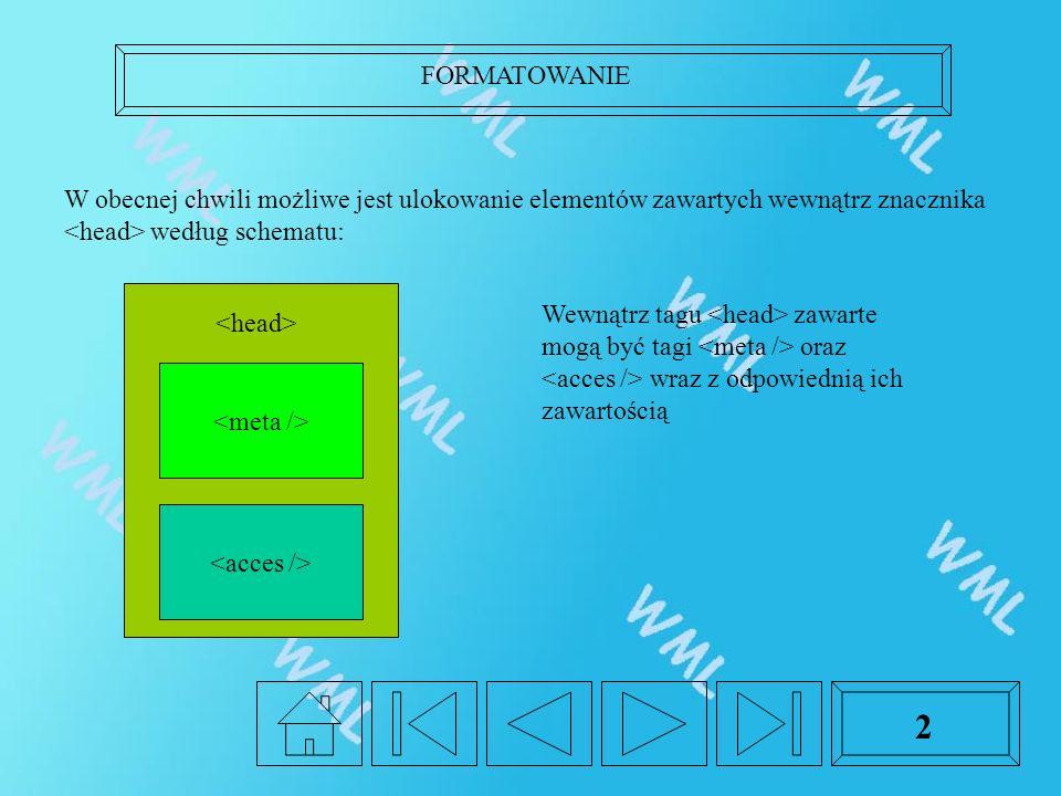 FORMATOWANIE 2 W obecnej chwili możliwe jest ulokowanie elementów zawartych wewnątrz znacznika według schematu: Wewnątrz tagu zawarte mogą być tagi oraz wraz z odpowiednią ich zawartością