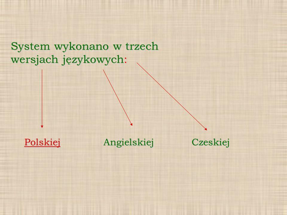 System wykonano w trzech wersjach językowych: PolskiejAngielskiejCzeskiej
