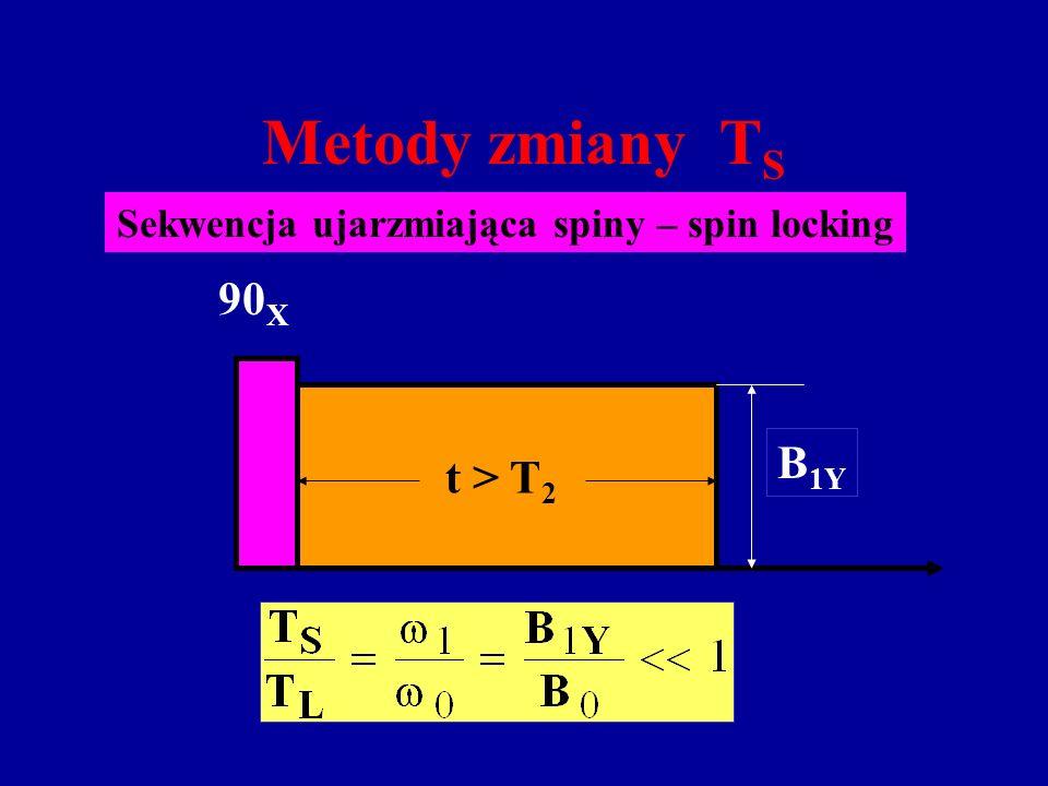 Metody zmiany T S Sekwencja ujarzmiająca spiny – spin locking t > T 2 B 1Y 90 X