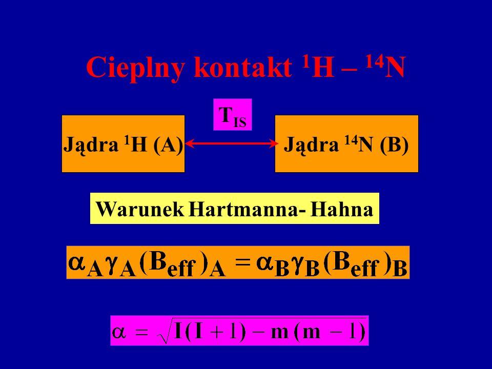 Cieplny kontakt 1 H – 14 N Jądra 1 H (A)Jądra 14 N (B) T IS Warunek Hartmanna- Hahna