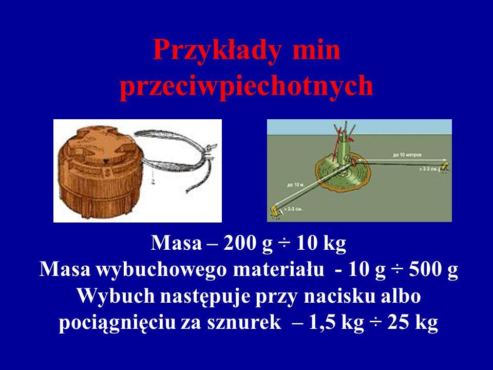Przykłady min przeciwpiechotnych Masa – 200 g ÷ 10 kg Masa wybuchowego materiału - 10 g ÷ 500 g Wybuch następuje przy nacisku albo pociągnięciu za sznurek – 1,5 kg ÷ 25 kg