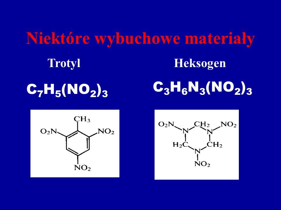 Niektóre wybuchowe materiały TrotylHeksogen C 7 H 5 (NO 2 ) 3 C 3 H 6 N 3 (NO 2 ) 3