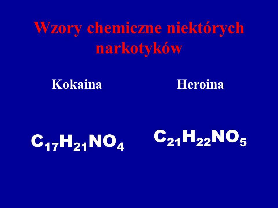 Wzory chemiczne niektórych narkotyków KokainaHeroina C 17 H 21 NO 4 C 21 H 22 NO 5