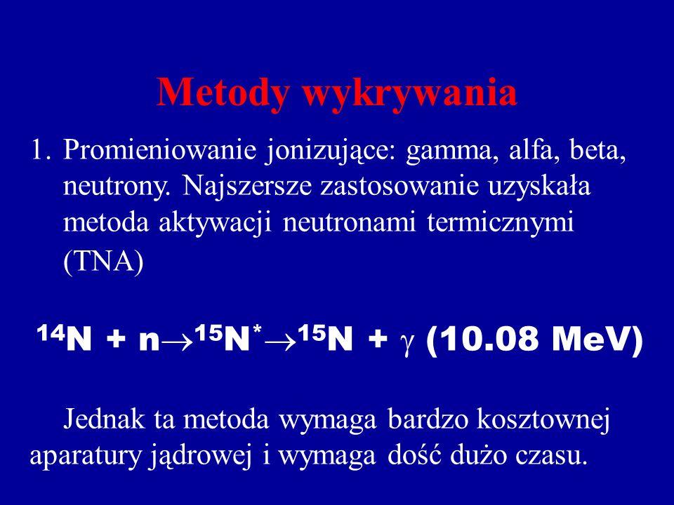 Metody wykrywania 1.Promieniowanie jonizujące: gamma, alfa, beta, neutrony.