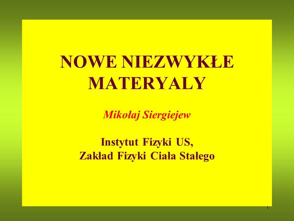 1 NOWE NIEZWYKŁE MATERYALY Mikołaj Siergiejew Instytut Fizyki US, Zakład Fizyki Ciała Stałego