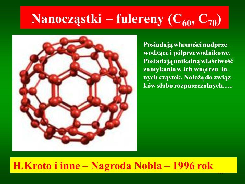 19 Nanocząstki – fulereny (C 60, C 70 ) H.Kroto i inne – Nagroda Nobla – 1996 rok Posiadają własności nadprze- wodzące i półprzewodnikowe. Posiadają u