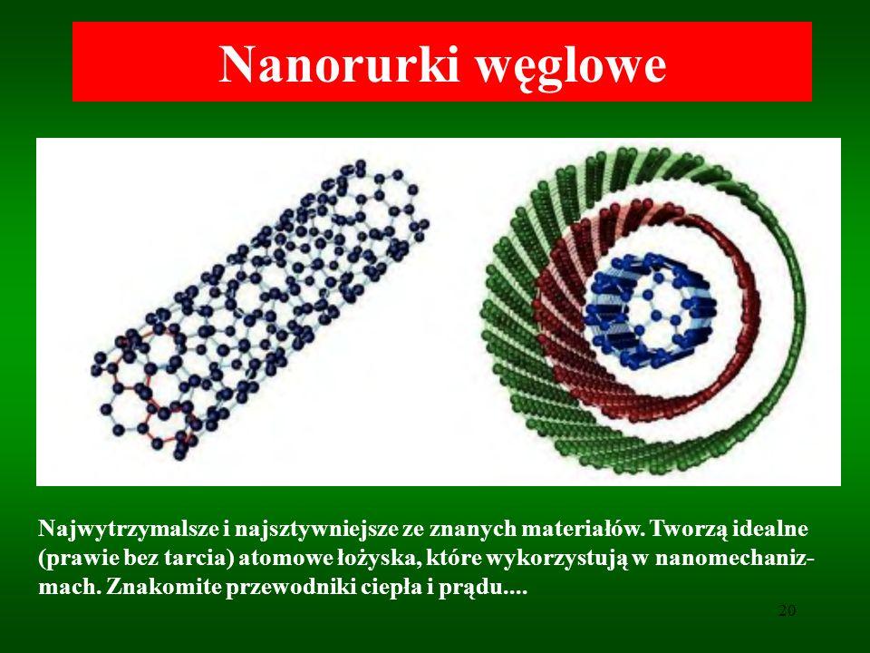 20 Nanorurki węglowe Najwytrzymalsze i najsztywniejsze ze znanych materiałów. Tworzą idealne (prawie bez tarcia) atomowe łożyska, które wykorzystują w