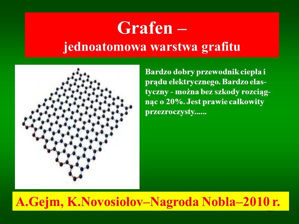 21 Grafen – jednoatomowa warstwa grafitu A.Gejm, K.Novosiołov–Nagroda Nobla–2010 r. Bardzo dobry przewodnik ciepła i prądu elektrycznego. Bardzo elas-
