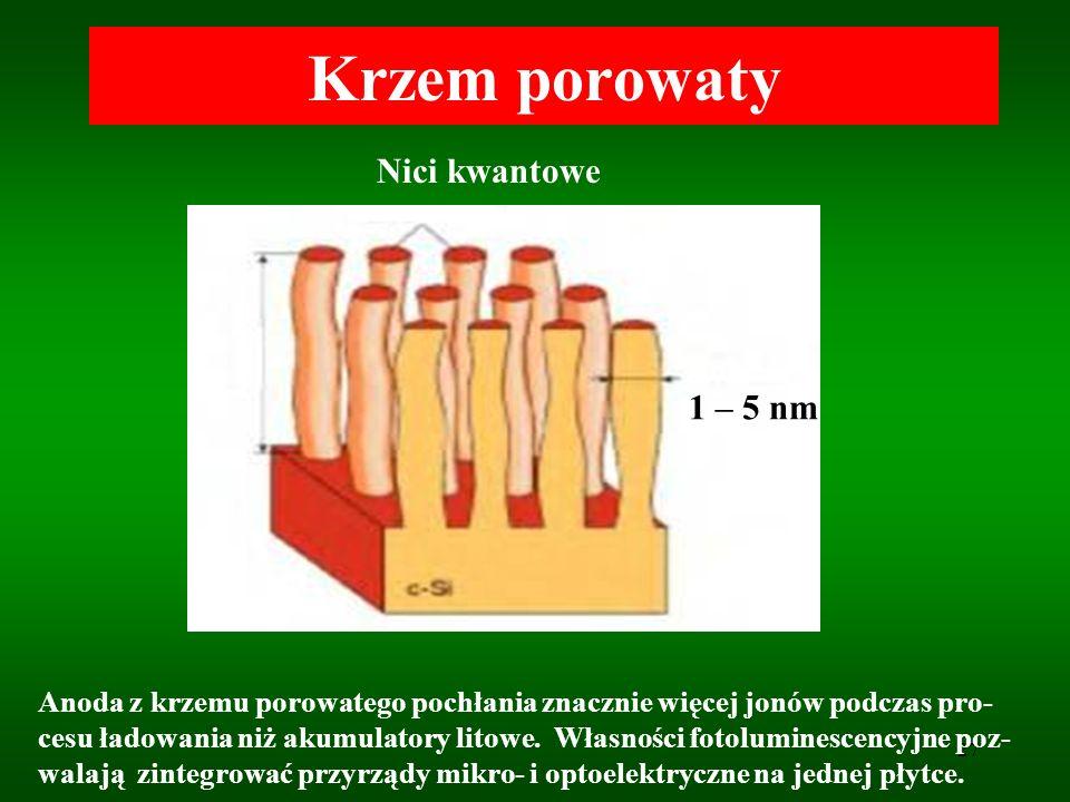 27 Krzem porowaty Nici kwantowe 1 – 5 nm Anoda z krzemu porowatego pochłania znacznie więcej jonów podczas pro- cesu ładowania niż akumulatory litowe.
