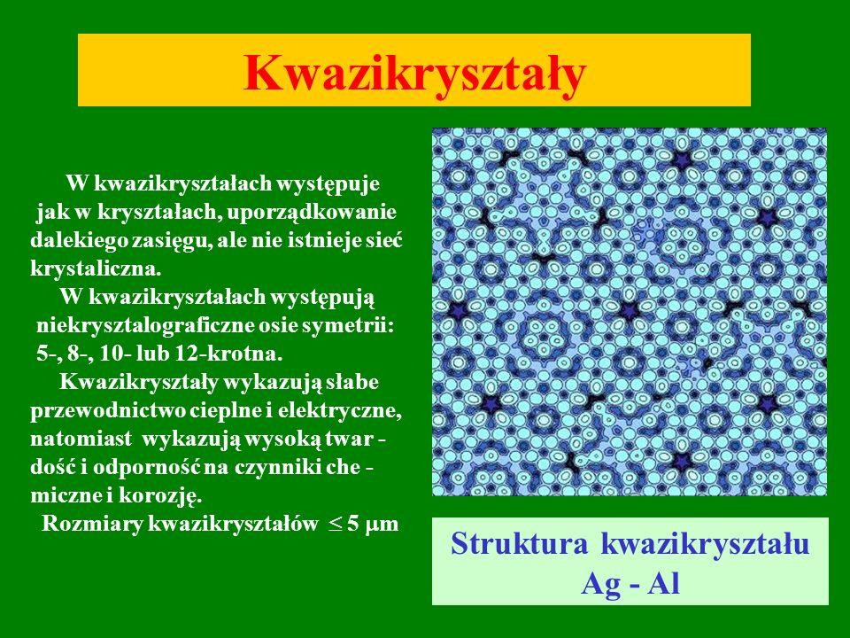 4 Kwazikryształy Struktura kwazikryształu Ag - Al W kwazikryształach występuje jak w kryształach, uporządkowanie dalekiego zasięgu, ale nie istnieje s