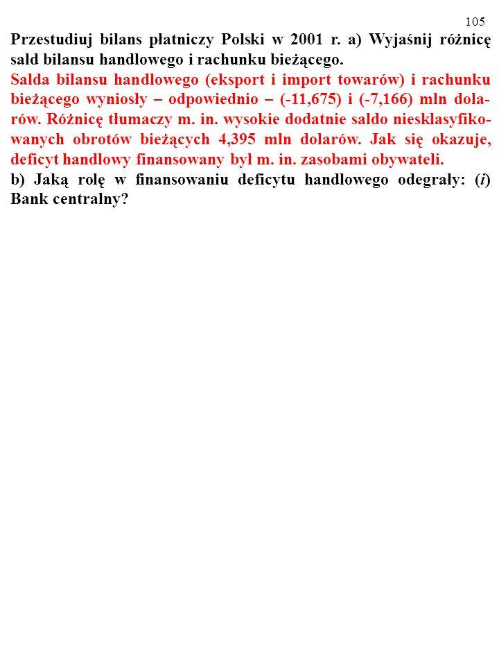 105 Przestudiuj bilans płatniczy Polski w 2001 r.
