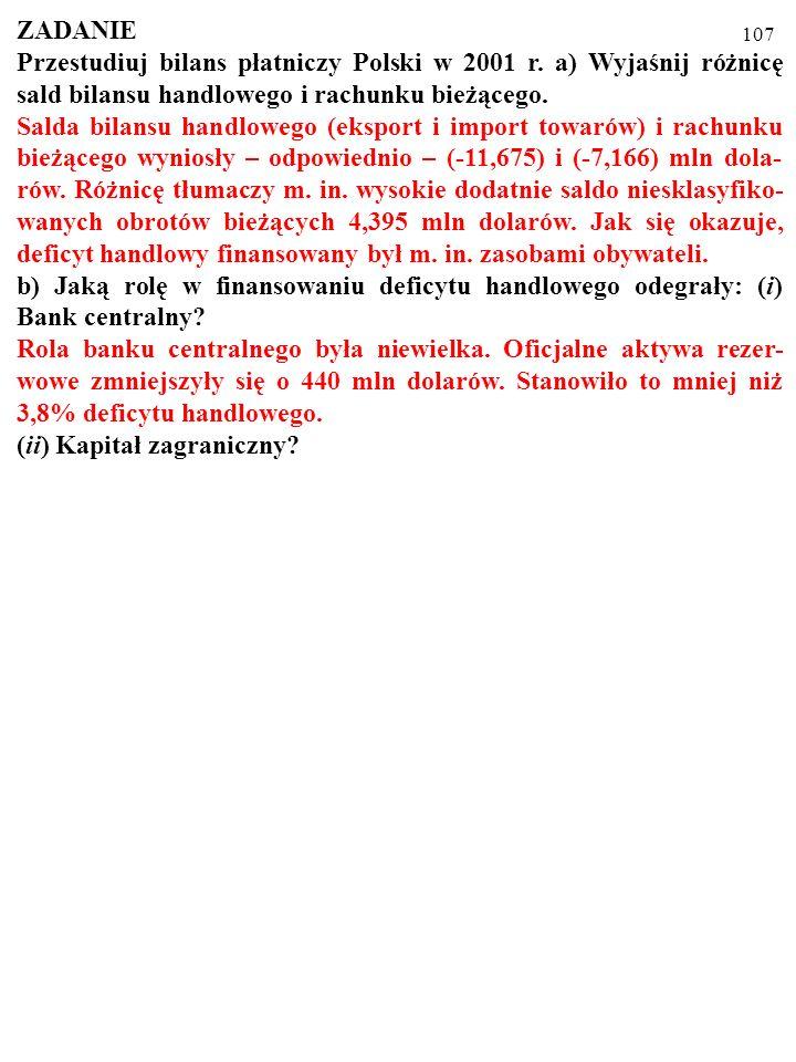 107 ZADANIE Przestudiuj bilans płatniczy Polski w 2001 r.