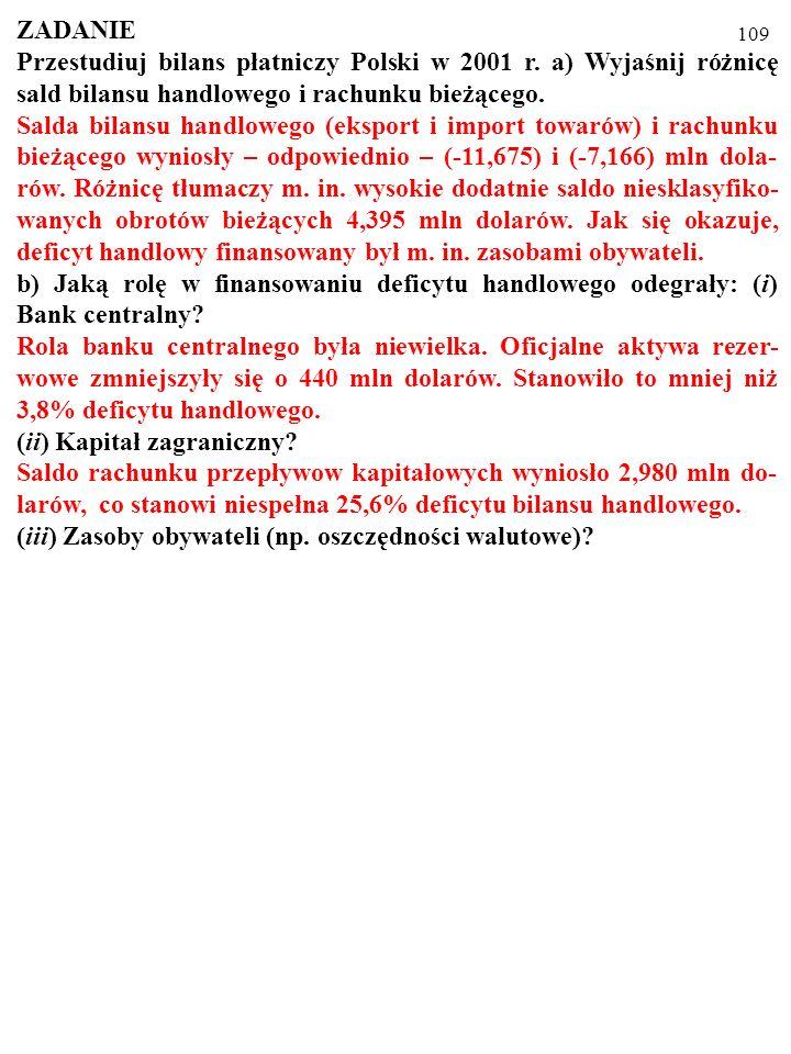 109 ZADANIE Przestudiuj bilans płatniczy Polski w 2001 r.
