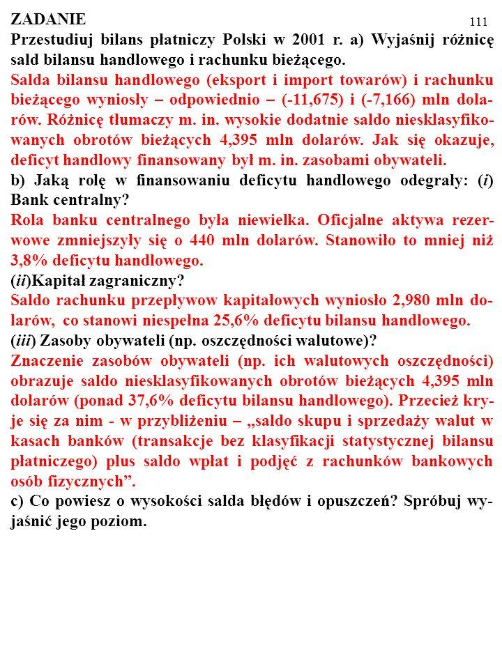 111 ZADANIE Przestudiuj bilans płatniczy Polski w 2001 r.