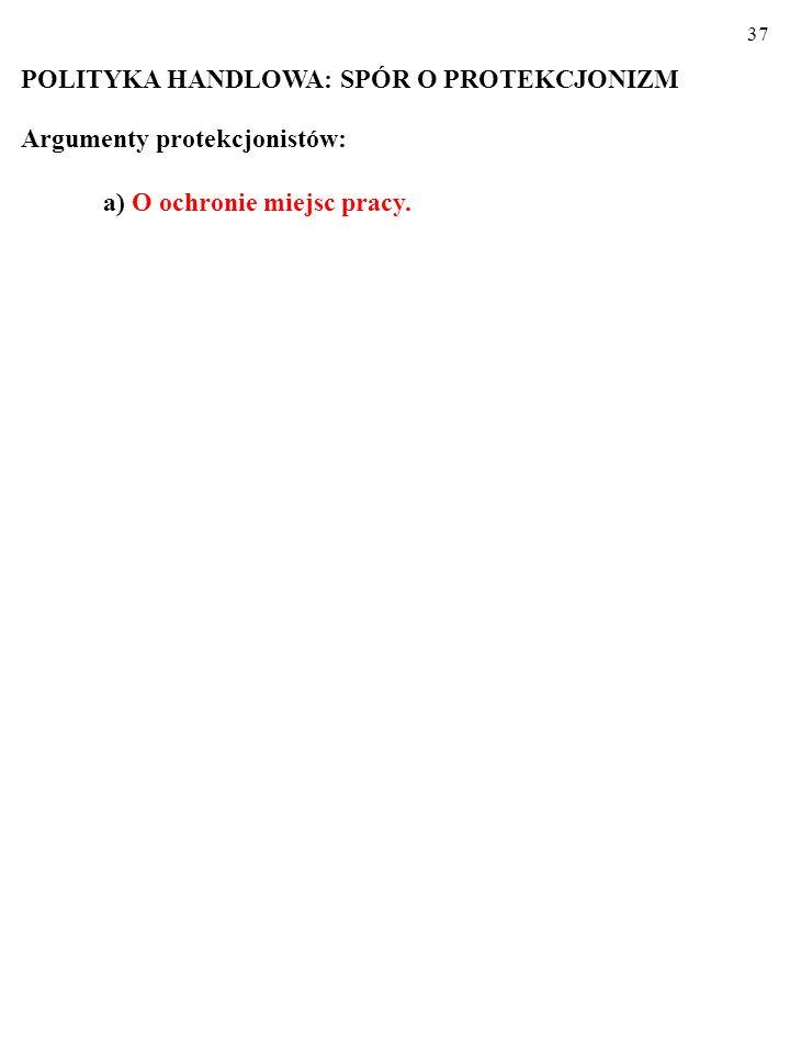 37 POLITYKA HANDLOWA: SPÓR O PROTEKCJONIZM Argumenty protekcjonistów: a) O ochronie miejsc pracy.