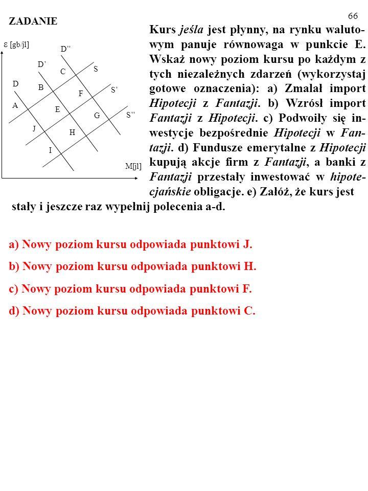 66 S S H S D D D E F G C I J A B M[jl] ε [gb/jl] Kurs jeśla jest płynny, na rynku waluto- wym panuje równowaga w punkcie E.