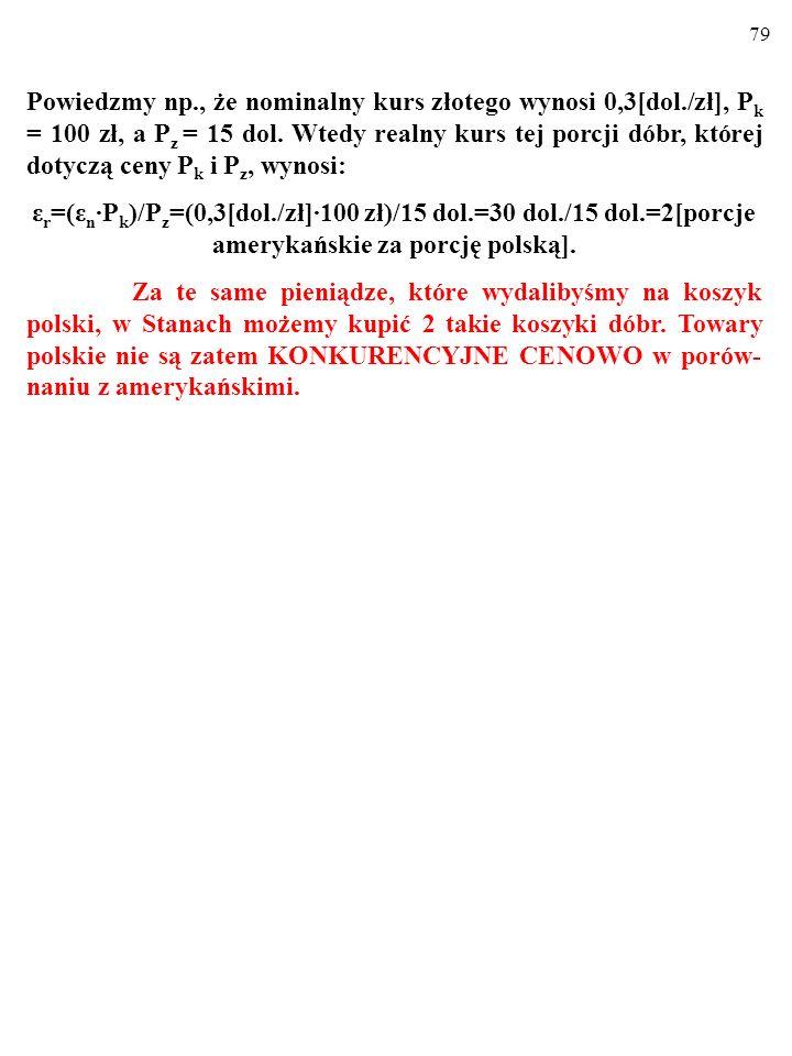 79 Powiedzmy np., że nominalny kurs złotego wynosi 0,3[dol./zł], P k = 100 zł, a P z = 15 dol.