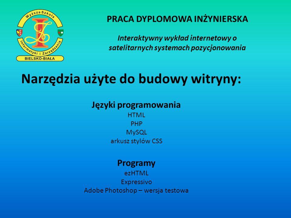 PRACA DYPLOMOWA INŻYNIERSKA Interaktywny wykład internetowy o satelitarnych systemach pozycjonowania Narzędzia użyte do budowy witryny: Języki program