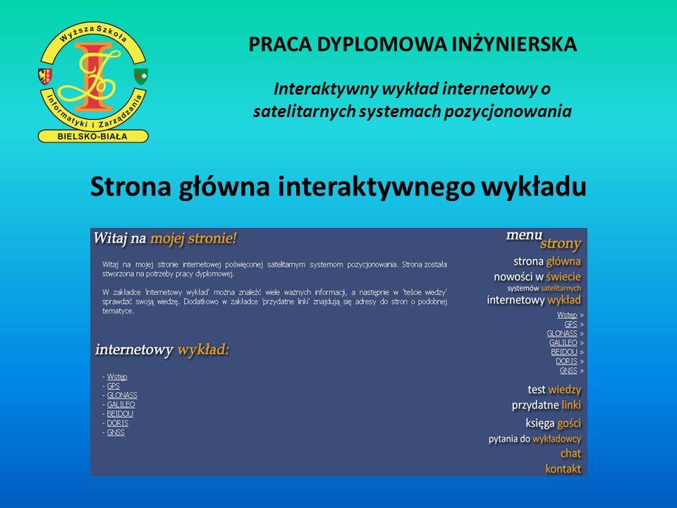 PRACA DYPLOMOWA INŻYNIERSKA Interaktywny wykład internetowy o satelitarnych systemach pozycjonowania Korzystanie z interaktywnego wykładu - rejestracja - logowanie - czytanie/słuchanie treści wykładu - udział w teście wiedzy - korzystanie z chatu, pytań do wykładowcy, księgi gości, bazy linków - Pomoc dla nowych użytkowników