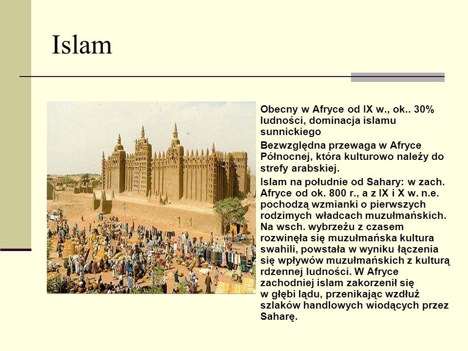 Islam Obecny w Afryce od IX w., ok.. 30% ludności, dominacja islamu sunnickiego Bezwzględna przewaga w Afryce Północnej, która kulturowo należy do str