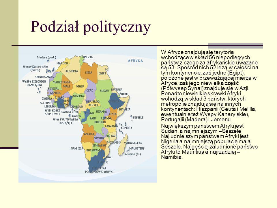 Podział polityczny W Afryce znajdują się terytoria wchodzące w skład 56 niepodległych państw z czego za afrykańskie uważane są 53. Spośród nich 52 leż