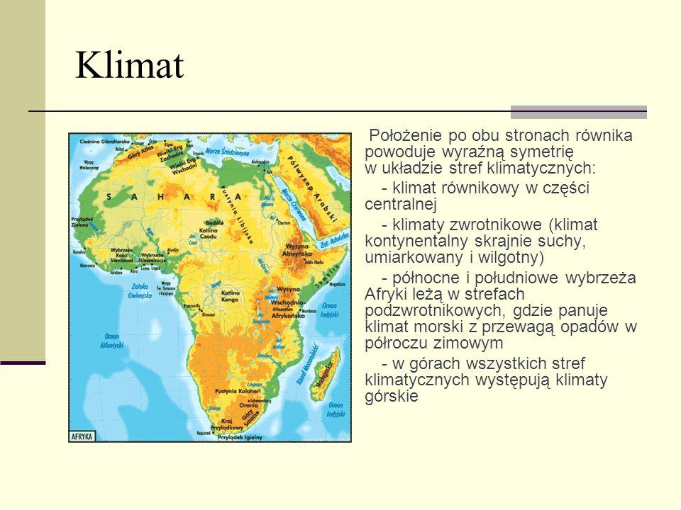 Klimat Położenie po obu stronach równika powoduje wyraźną symetrię w układzie stref klimatycznych: · - klimat równikowy w części centralnej · - klimat