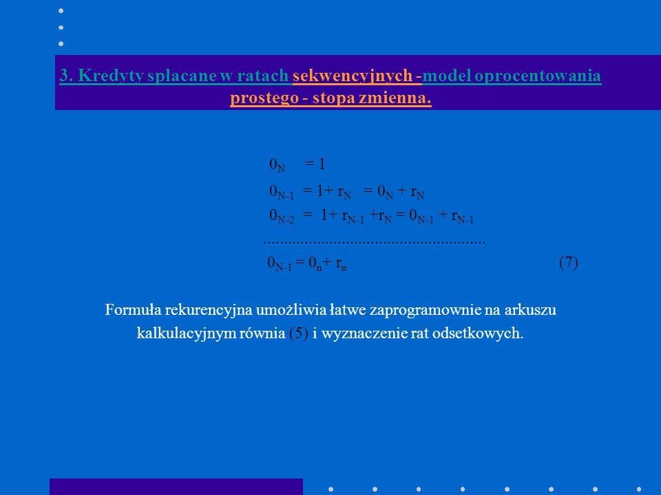 3. Kredyty spłacane w ratach sekwencyjnych -model oprocentowania prostego - stopa zmienna. 0 N = 1 0 N-1 = 1+ r N = 0 N + r N 0 N-2 = 1+ r N-1 +r N =