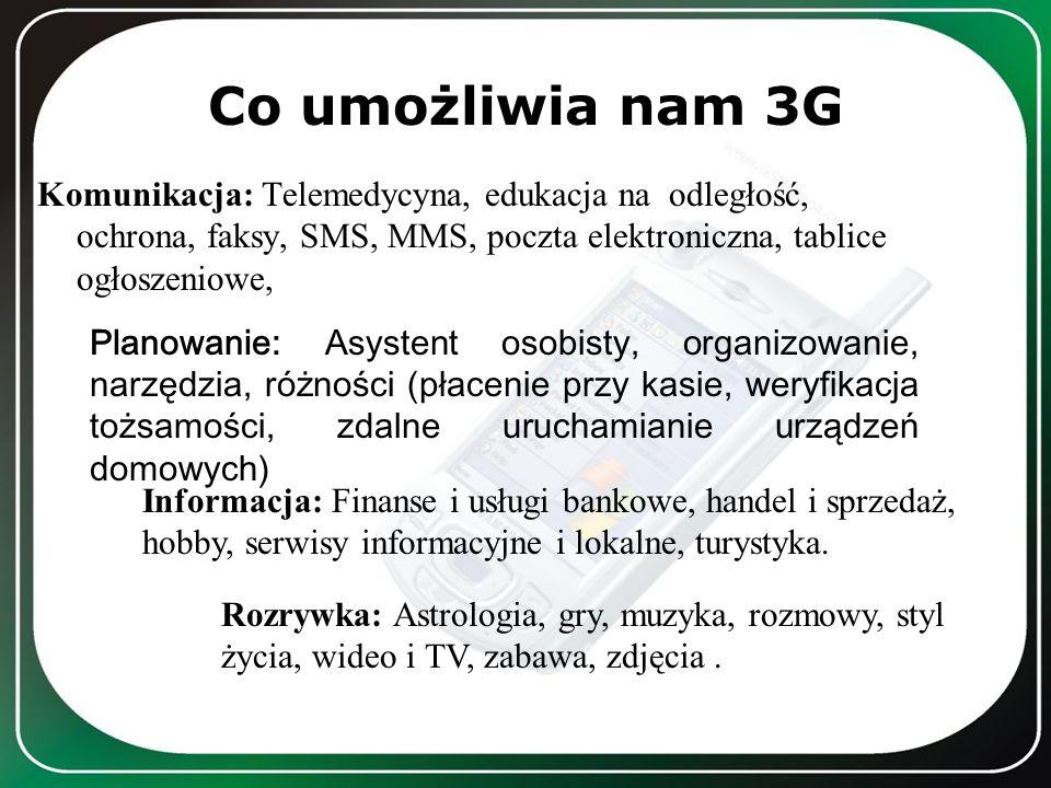 Co umożliwia nam 3G Komunikacja: Telemedycyna, edukacja na odległość, ochrona, faksy, SMS, MMS, poczta elektroniczna, tablice ogłoszeniowe, Planowanie