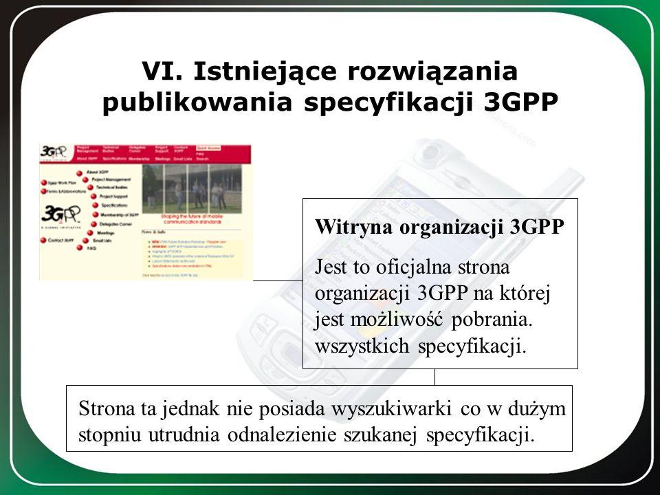 VI. Istniejące rozwiązania publikowania specyfikacji 3GPP Witryna organizacji 3GPP Jest to oficjalna strona organizacji 3GPP na której jest możliwość