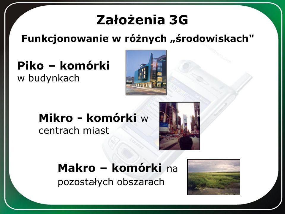 Założenia 3G Funkcjonowanie w różnych środowiskach