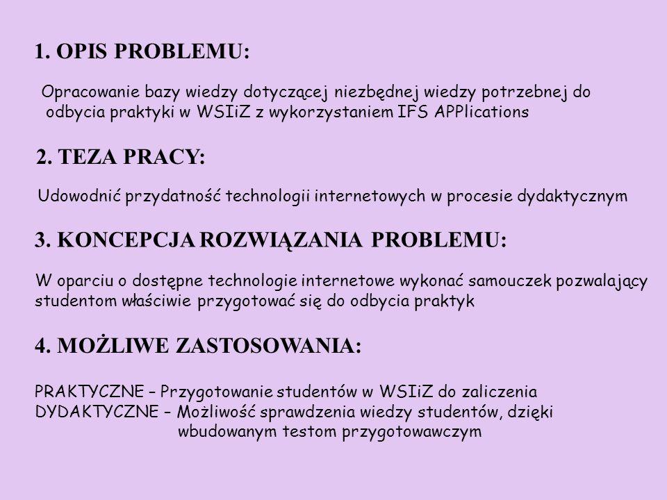 1. OPIS PROBLEMU: Opracowanie bazy wiedzy dotyczącej niezbędnej wiedzy potrzebnej do odbycia praktyki w WSIiZ z wykorzystaniem IFS APPlications 3. KON