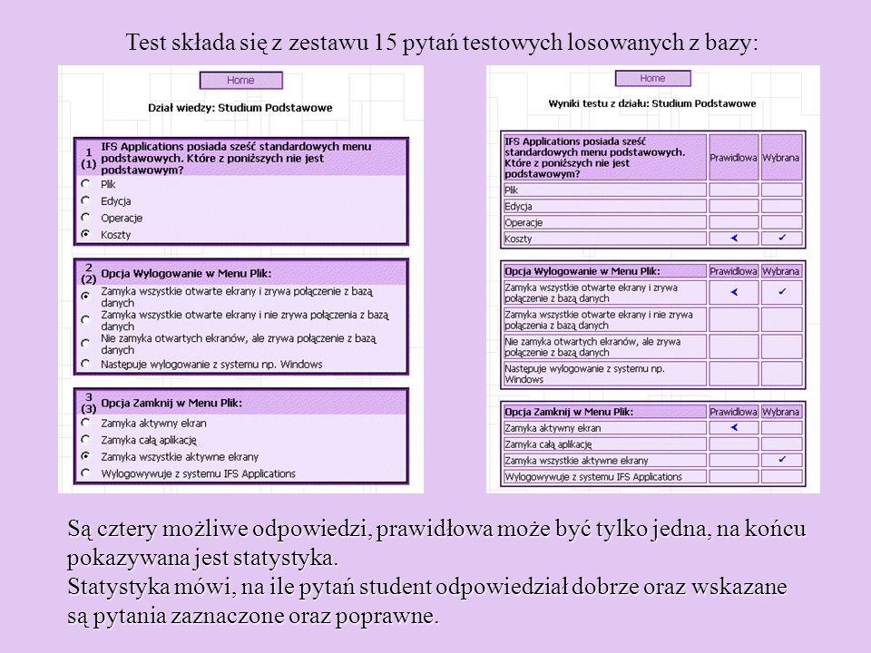 Test składa się z zestawu 15 pytań testowych losowanych z bazy: Są cztery możliwe odpowiedzi, prawidłowa może być tylko jedna, na końcu pokazywana jes