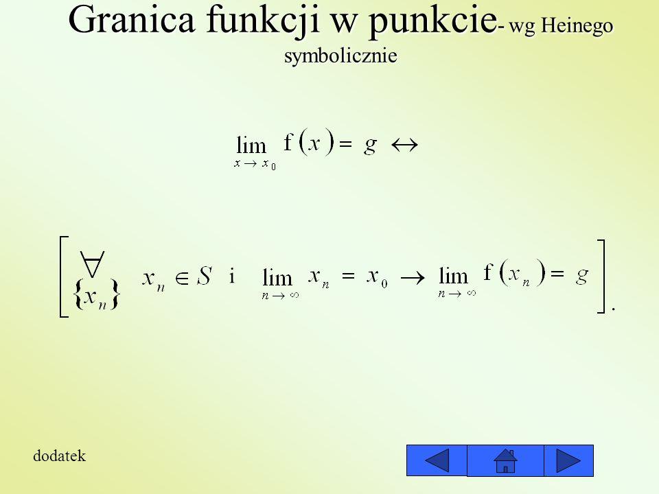 Granica funkcji w punkcie - wg Cauchyego Definicja wg Cauchyego: Liczbę g nazywa się granicą funkcji wtedy i tylko wtedy.