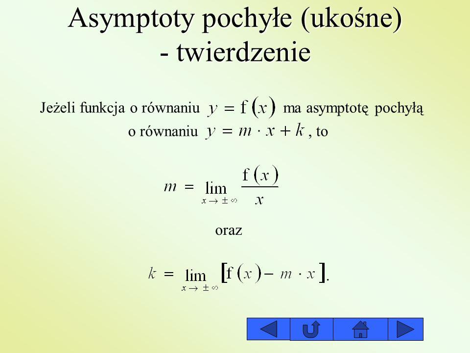 Asymptoty pochyłe (ukośne) - twierdzenie Jeżeli funkcja o równaniu ma asymptotę pochyłą o równaniu,to oraz.