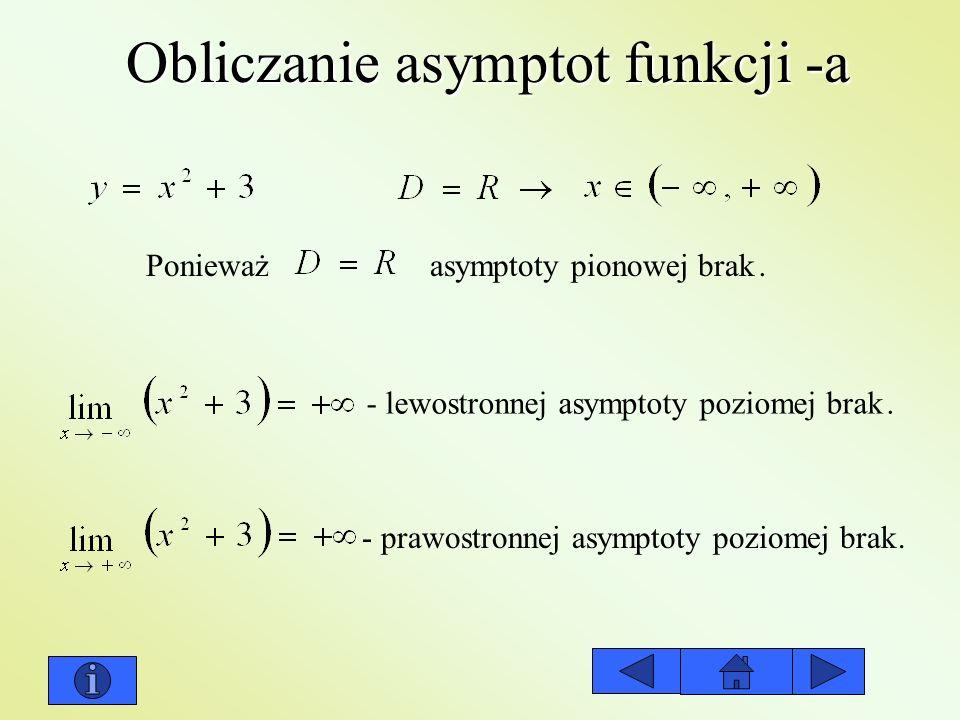 Obliczanie asymptot funkcji -a Ponieważ asymptoty pionowej brak. - lewostronnej asymptoty poziomej brak. - prawostronnej asymptoty poziomej brak.