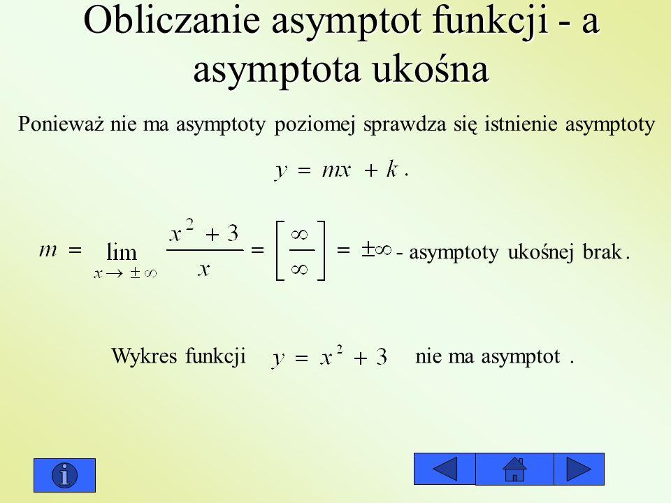 Obliczanie asymptot funkcji - a asymptota ukośna Ponieważ nie ma asymptoty poziomej sprawdza się istnienie asymptoty. - asymptoty ukośnej brak. Wykres