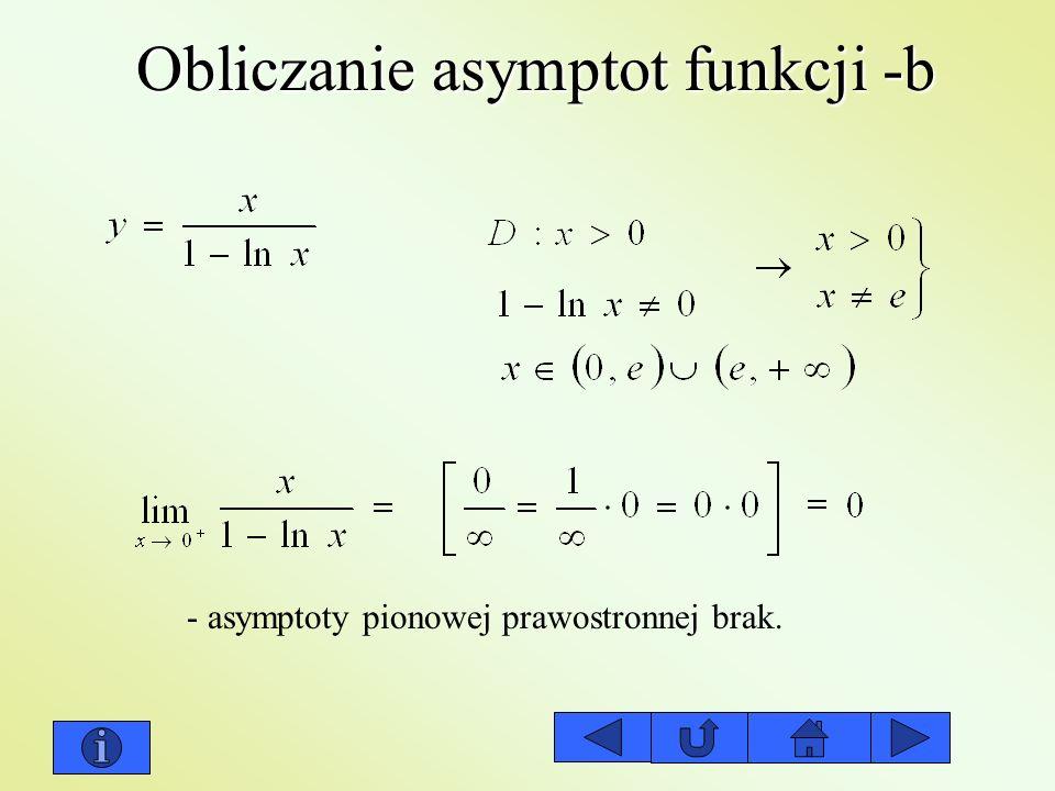Obliczanie asymptot funkcji -b - asymptoty pionowej prawostronnej brak.