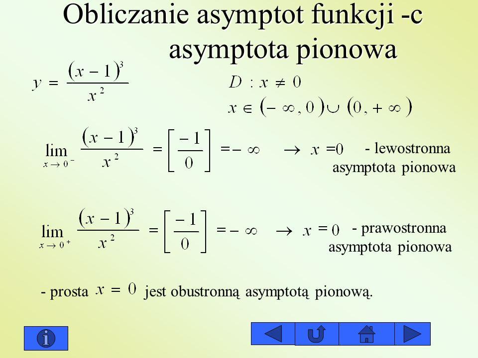 Obliczanie asymptot funkcji -c asymptota pionowa - lewostronna asymptota pionowa - prawostronna asymptota pionowa - prosta jest obustronną asymptotą p