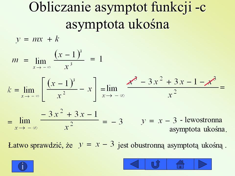 Obliczanie asymptot funkcji -c asymptota ukośna - lewostronna asymptota ukośna. Łatwo sprawdzić, że jest obustronną asymptotą ukośną.