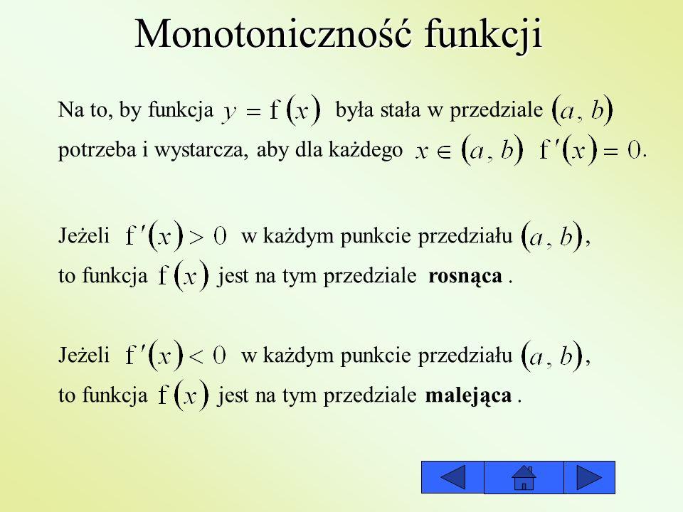 Monotoniczność funkcji Na to, by funkcja była stała w przedziale potrzeba i wystarcza, aby dla każdego Jeżeli w każdym punkcie przedziału, to funkcja