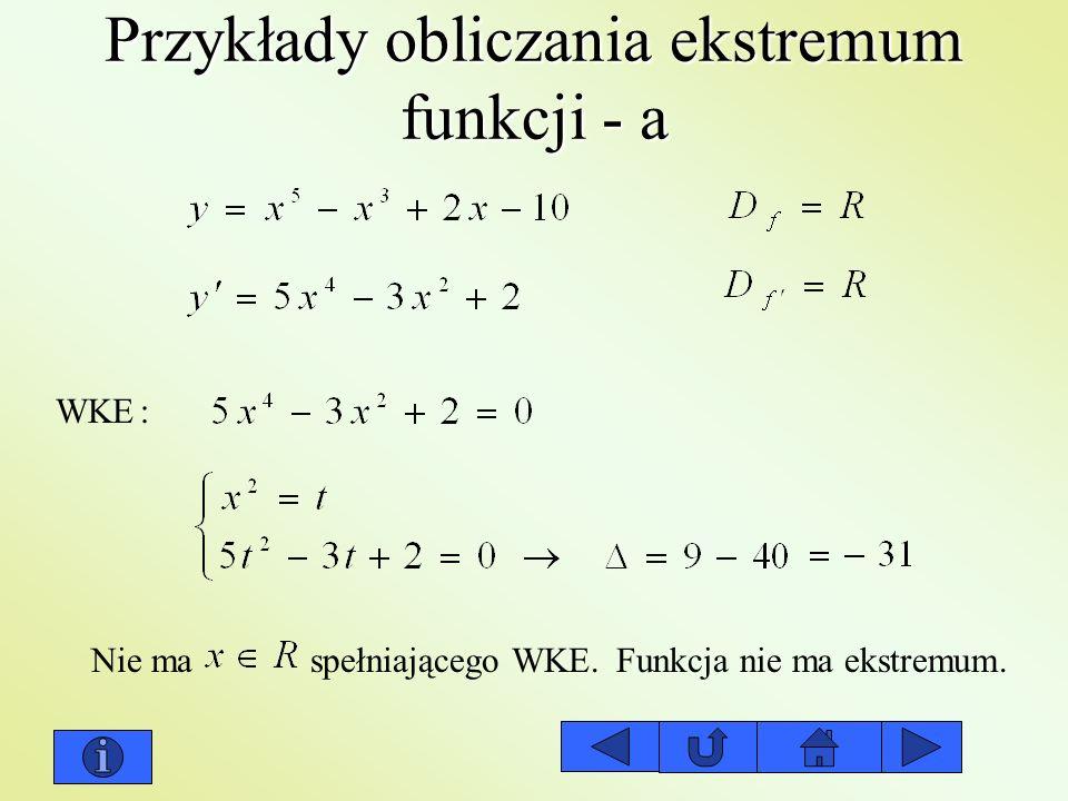 Przykłady obliczania ekstremum funkcji - a WKE: Nie ma spełniającego WKE.Funkcja nie ma ekstremum.