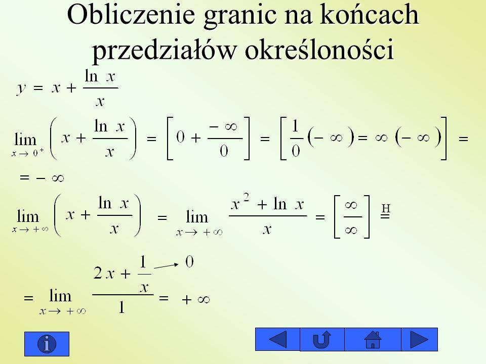 Obliczenie granic na końcach przedziałów określoności H