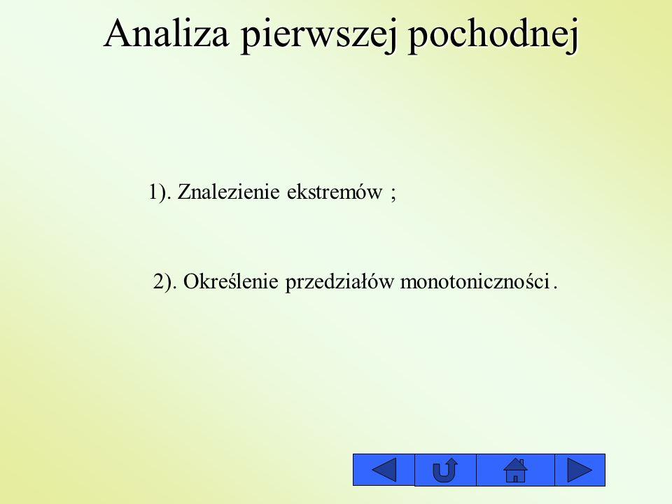 Analiza pierwszej pochodnej 1). Znalezienie ekstremów 2). Określenie przedziałów monotoniczności ;.