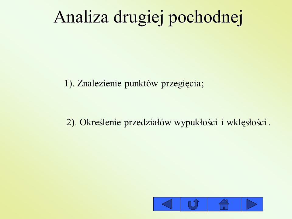 Analiza drugiej pochodnej 1). Znalezienie punktów przegięcia 2). Określenie przedziałów wypukłości i wklęsłości ;.