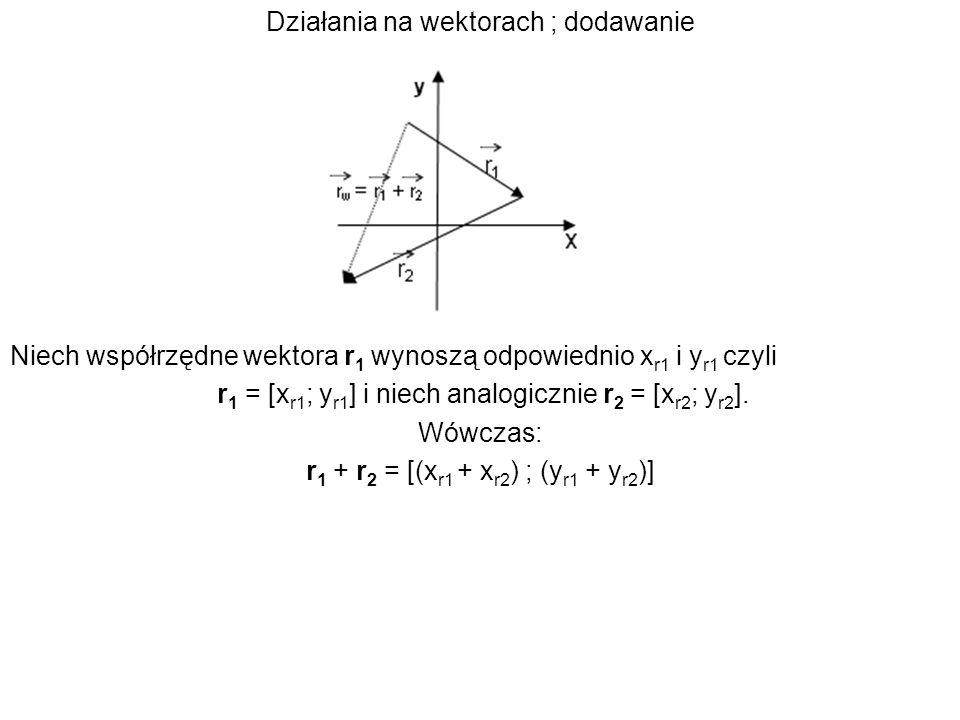 Działania na wektorach ; dodawanie Niech współrzędne wektora r 1 wynoszą odpowiednio x r1 i y r1 czyli r 1 = [x r1 ; y r1 ] i niech analogicznie r 2 =